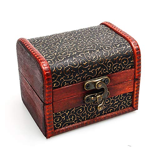 T&J Exclusives 1 X Bronze Tone Embossed Flower Old Stye Wooden Jewelry Box Case ()