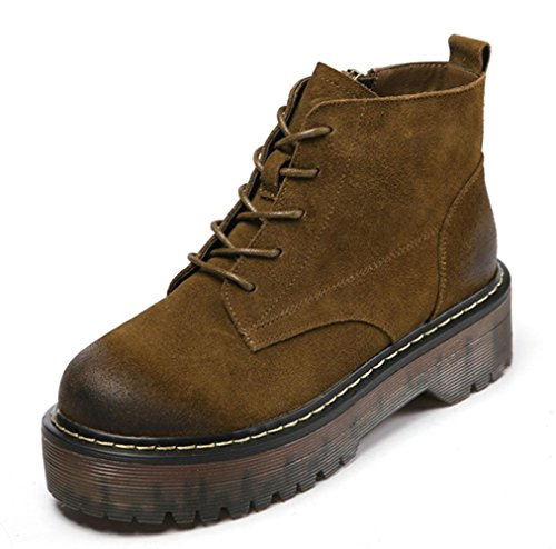 KUKI autumn women boots Martin boots thick bottom boots ladies single boots flat bottom lace female boots cheap women boots light breathable casual shoes khaki qu7t18Lm