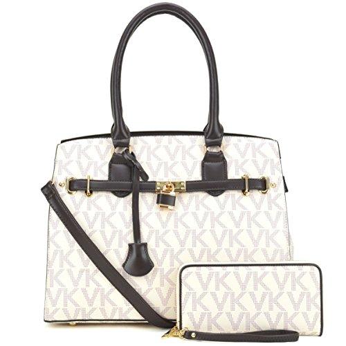 Women Signature Multi-Pockets Satchel for Lady Belted Designer Tote Lightweight PU Leather Shoulder Bag (Signature 2 Pocket Tote)