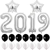 BALONAR 40inch 2019 Foil Balloon Decoration for New Year's Eve 2019 Graduation Party Supplies 2019 Anniversary Ceremony Supplies (Silver)
