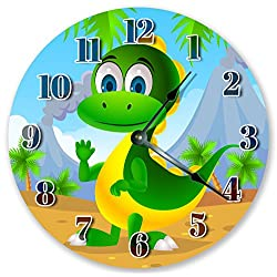 10.5 CUTE DINO KIDS ROOM CLOCK - Large 10.5 Wall Clock - Home Décor Clock