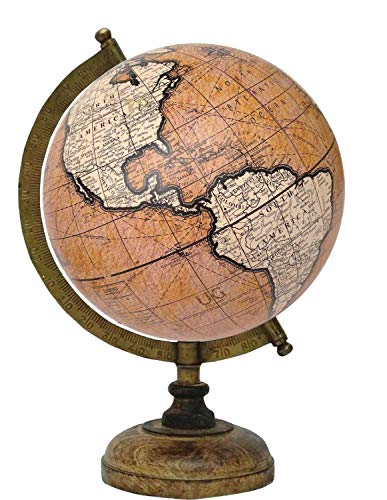 """8"""" Peach Orange Educational, Antique Globe with Brass Antique Arc and Wooden Base, World Globe, Home Decor, Office Decor, Gift Item by Globes Hub"""