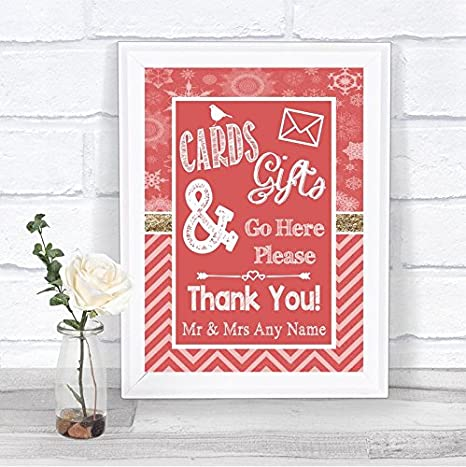 red winter christmas cards and gifts post box personalized wedding sign - How To Sign A Christmas Card
