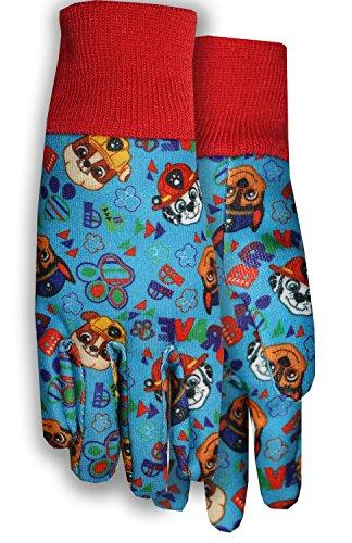 Midwest Gloves & Gear PW102TH8-T-AZ-6 Paw Patrol Gloves Jersey, Toddler, Red Knit Cuff/Blue Pattern Jersey by Midwest Gloves & Gear