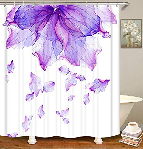 "LIVILAN Misty Ultra Violet Thick Fabric Shower Curtain,72""x 72"",Romantic Purple Art Design,Waterproof,No Liner Need,with 12 Steel Rings"