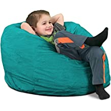 Ultimate Sack Kids Sack Bean Bag Chair: Giant Foam-Filled Furniture - Machine Washable Covers, Double Stitched Seams, Durable Inner Liner, and 100% Virgin Foam. Kids Bean Bag. (Teal, Suede)