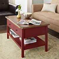 Coffee Table with Bottom Shelf, 2 Drawers, Sofa Table, Curved Wood Panel, Living Room, Family Room, Storage Space, Walnut Table Top Finish, Home Furniture, Multiple Colors (Red)
