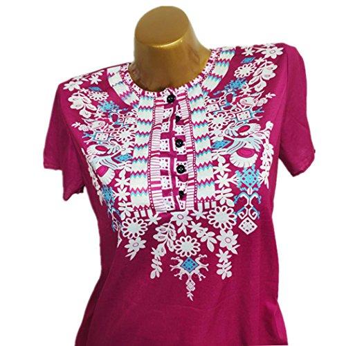 Shirt Automne Mode Tops 2018 Irrgulire Cou Blouse zahuihuiM T Imprim Rose Femmes Volants Nouveau Courtes Vif Casual O Ourlet Manches Printemps Nouveau EqwYwB
