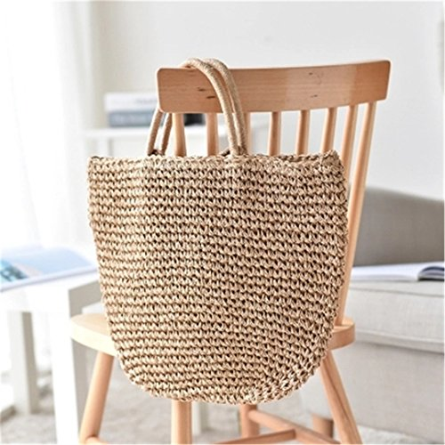 Handbags Knitted Black and Women Handmade Travel Woven MANFDGABNGS Bali Straw Bags Gray 100 Beach Wicker Bags Shoulder FUH8qx