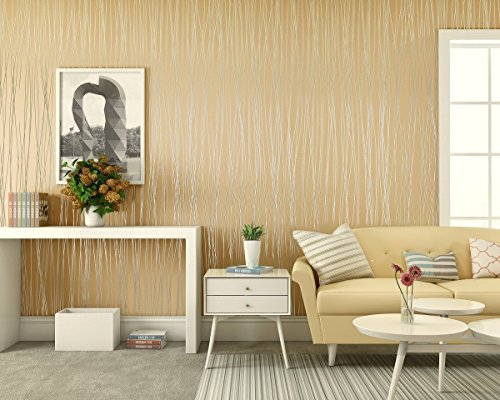 Textured Art Wallpaper (Non Woven Wallpaper LinkStyle Textured Wallpaper 3D Modern Wallpaper Wall Coverings for Home Living Room Bedroom Offices Hotels Wall Art Murals-Beige Yellow (19.7
