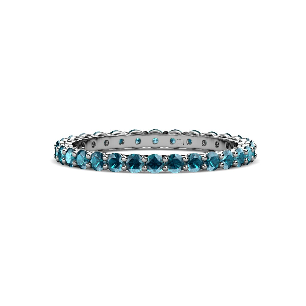 TriJewels London Blue Topaz 2mm Gallery Shared Prong Eternity Band 0.91-1.09 ctw 14K White Gold.size 6.5