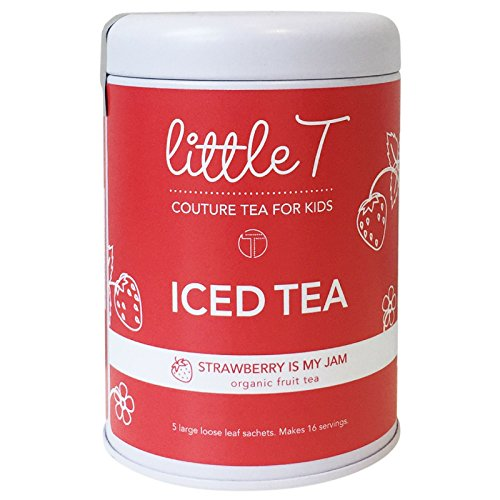 LITTLE T Strawberry Is My Jam Organic Fruit Iced Tea for Kids. Sugar-free, Caffeine-free, Antioxidant-rich, Hydrating Herbal Iced Tea Sachets (Iced Tea Tin [makes 16 - Just Sugar Strawberry Like