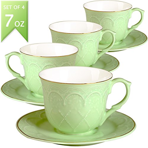 646e00b5441dc Guangyang Coffee Cups Saucers Set of 4-7OZ New Bone China Embossed Floral  Gold Edge