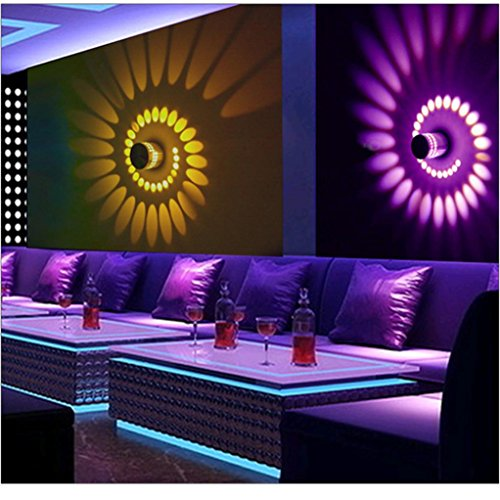 YJYdada Colorful RGB Spiral Hole Wall Lamp Surface Install LED Light Luminaire (Car Color Wall Clock)