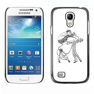 LECELL--Funda protectora / Cubierta / Piel For Samsung Galaxy S4 Mini i9190 MINI VERSION! -- Dance Caricature Man Woman Big Drawing Art --