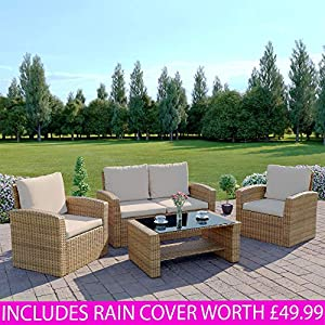Rattan Outdoor Garden Furniture Patio Conservatory INCLUDES RAIN COVER 4 Seater Sofa and Armchair set with Cushions and Coffee Table. Grey Brown Black (Light Mix Brown with Light Cushions, Algarve 2+1+1)