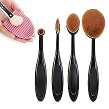 Makeup Brush Set,Sunroyal Toothbrush Contour Makeup Brush Sets with Silicone Cleaning Mat Tools Foundation Contour Powder Eyebrow Blush Eyeshadow Brush Set (Black10pcs)