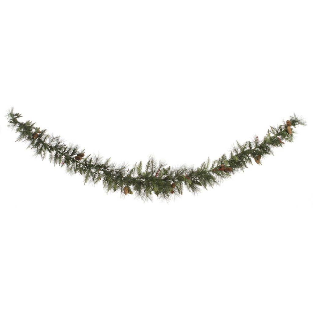 Vickerman 9' Unlit Vallejo Mixed Pine and Berry Swag Garland