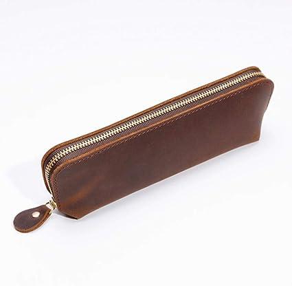 Handmade Genuine Leather Zipper Pencil Case Cowhide Pen Pouch