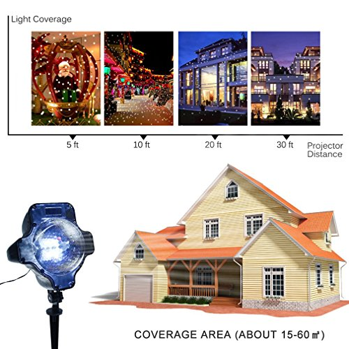 Snowfall Outdoor Led Christmas Lights Displays Projector Show Waterproof Rotating Projection Snowflake Lamp with Wireless Remote for Xmas Halloween Party Wedding and Garden Decorations by BEIYI HOME-US (Image #1)
