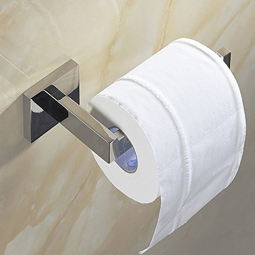 Tissue Paper Holder Wall Mount Chrome Finish Mirror Polished Toilet Roll Holder Bathroom Accessories ()