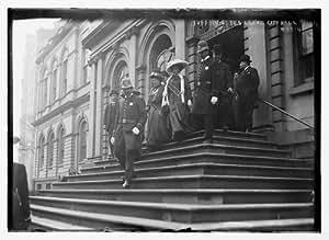 10/28/08. photo Suffragettes, preceded by policemen, decend steps of City Hal c9
