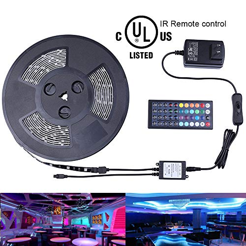 (Miheal Waterproof 5050 SMD 32.8ft (10m) RGB LED Strip Light Kit, Color Changing Black PCB Rope Lights+44-Key IR Controller+ Power Supply for Home,Kitchen,Trucks,Sitting Room and Bedroom Decoration)