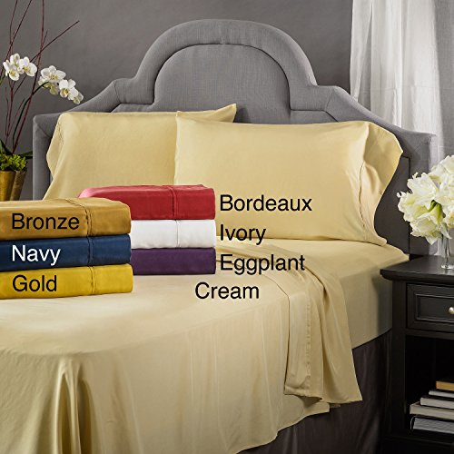 Wine Pure Silk (Luxury Linens Inc Elle & Alix Pure Mulberry Sandwashed Habotai Silk Sheet Set Wine California King)