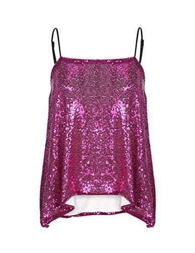 HAOYIHUI Womens Sexy Sequin Sleeveless Spaghetti Strap Sparkly Camis Tank (Medium, Fuchsia) (Sexy Sequin Bustier)