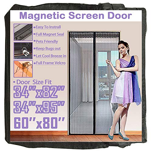TheFitLife 62x81 Magnetic Screen Door Fits Doors up to 60x80 Max Full Frame Hook and Loop Heavy Duty Mesh