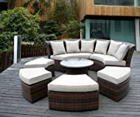 Genuine Ohana Outdoor Patio Wicker Furniture 7pc All Weather Round Couch Set with Free Patio Cover from Ohana