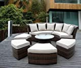Genuine Ohana Outdoor Patio Wicker Furniture 7pc All Weather Round Couch Set with Free Patio Cover
