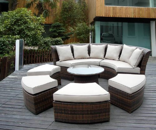 Amazon.com : Genuine Ohana Outdoor Patio Wicker Furniture 7pc All Weather  Round Couch Set With Free Patio Cover : Patio Sofas : Patio, Lawn U0026 Garden