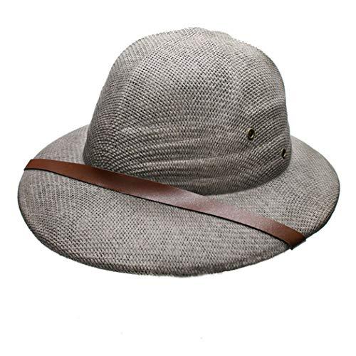 Women Men Novelty Hard Straw Helmet Pith Sun Hats for Army Boater Bucket Hats Safari Jungle Miners Cap 56-59CM Gray