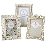 shabby chic picture frames Vintage Baroque Ornate Antique Picture Frames ~ Set of 3 for 4x6 Inch Photos, Ivory Coated and Brushed with Gold and Silver Accents ~ Perfect for Wedding Vacation Graduation Or Any Milestone Photo