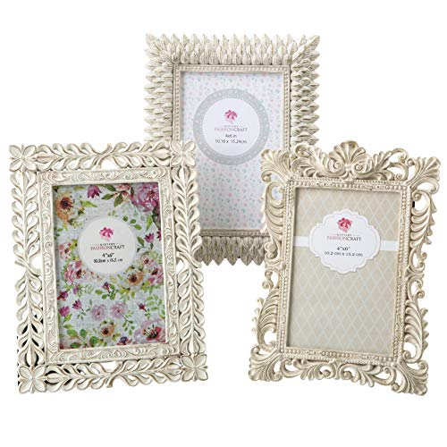 Vintage Baroque Ornate Antique Picture Frames ~ Set of 3 for 4x6 Inch Photos, Ivory Coated and Brushed with Gold and Silver Accents ~ Perfect for Wedding Vacation Graduation Or ()