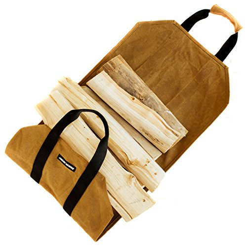 Angry Beaver Waxed Canvas Firewood Carrier Log Tote, Fireplace Wood Accessory, Heavy Duty Eco-Friendly Wood Canvas Sling