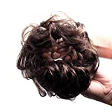Bella Hair 100% Human Hair Scrunchie Bun Up Do Hair Pieces Wavy Curly or Messy Ponytail Extension (#2 Dark Brown)