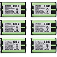 EBL 6 Pack Rechargeable Cordless Phone Battery For Panasonic HHR-P104 HHR-P104A KX-FG6550 KX-FPG391 KX-TG2302 KX-TG230 KX-TG2312 KX-TG2355W KX-TG2356 KX-TG2357 KX-TG2382B KX-TG2386B KX-TG2388B