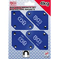 BGS 3004 Jeu de supports magnétiques mini 45°-90°-135°, Bleu, Set de 4 Pièces