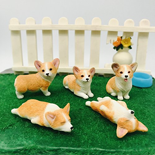 wan zi Hand-Made and Painted Pet 5-Pack Pembroke Welsh Corgi Sculpture Figurine Toy,Corgi Collectibles, Pembroke Welsh Corgi Art, Birthday Gift. (Yellow) ()