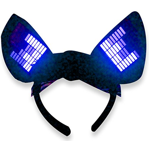 [Original Huboptic JP0 Blue Cyber Ears - Light Up DJ Cat Kitty Ears - Neko Ears - Cosplay Ears Rave Dancers EDM Ears Gogo dancer cat woman] (Authentic Catwoman Costumes)