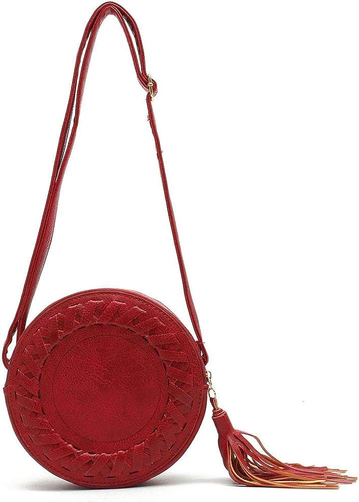 BYHai Woman Round Casual One Shoulder Adjustable Braided Tassel Small Round Bag