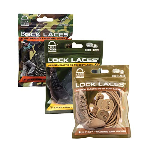 LOCK LACES for Boots (3 Pair) Premium Heavy Duty Elastic No Tie Boot Laces for Boots and Shoes (Black-Camo-Tan)