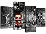 Large Black White and Red London Bus Cityscape Canvas Wall Art Pictures - XL - Big Modern City Canvases - Multi Panel Prints - Set of 4 - 130cm Wide
