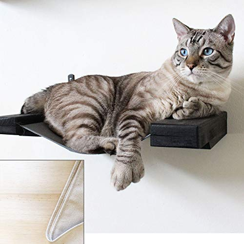 CatastrophiCreations Hammock Lounger Handcrafted Wall-Mounted Cat Furniture, Unfinished/Natural, 16