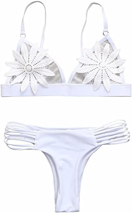 Amazon sexy bikiniwomen bikini set white flower mesh hollow amazon sexy bikiniwomen bikini set white flower mesh hollow thong swimwear bathing swimsuit with padded asiansmall white clothing mightylinksfo