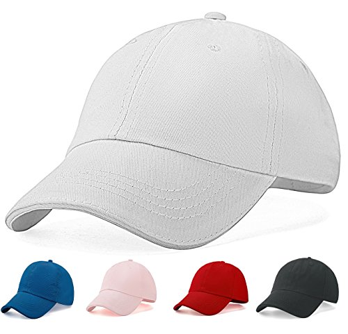Kids 5t Baseball Hat Cap Girls - Baby Boys Unisex Unconstructed Low Profile Fit 4-12 Years (White)