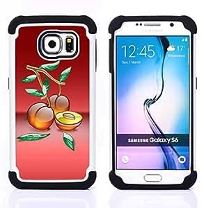 - Fruit Macro Peaches/ H??brido 3in1 Deluxe Impreso duro Soft Alto Impacto caja de la armadura Defender - SHIMIN CAO - For Samsung Galaxy S6 G9200