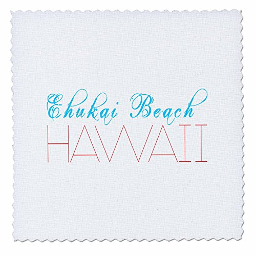 3dRose Alexis Design - American Beaches - American Beaches - Enukai Beach, Hawaii, blue, red on white - 18x18 inch quilt square (qs_273968_7) by 3dRose